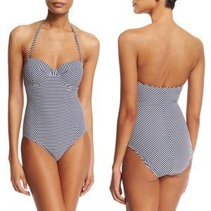 Tory Burch Striped One Piece Swimsuit